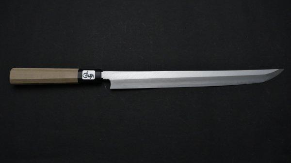 銀三鋼 上仕上 先丸蛸引 朴柄<br>Ginsan Pro Sakimaru Takobiki Magnolia Handle