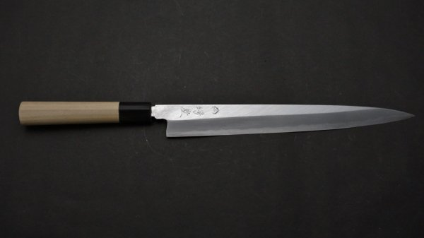 白二鋼 普及品 柳刃 朴柄<br>White #2 Yanagiba Magnolia Handle
