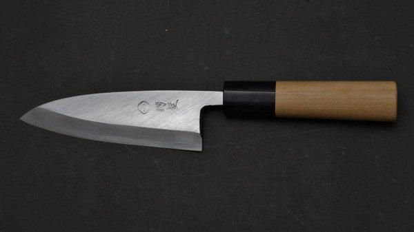 左刃 白二鋼 普及品 小出刃 朴柄<br>Left Handed White #2 Small Deba Magnolia Handle