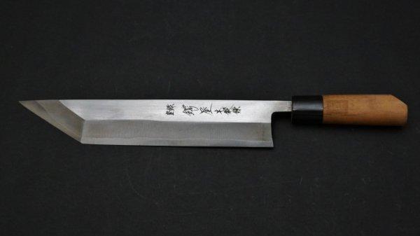 左刃 本鍛錬 江戸裂き 朴柄<br>Left Handed Hontanren Tokyo Eel Knife Magnolia Handle