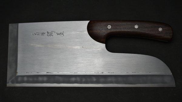 左刃 白ニ鋼 上仕上 麺切 紫檀柄 (曲柄)<br>Left Handed White #2 Pro Menkiri Rosewood Handle (Curve)