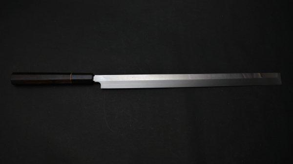 本焼 青二鋼 蛸引 黒檀柄<br>Honyaki Blue #2 Takobiki Ebony Handle