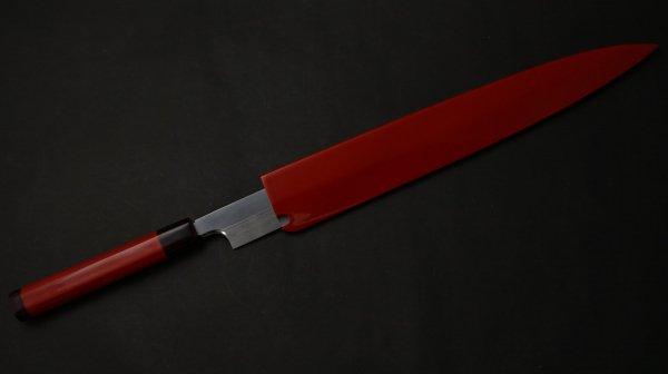 本焼 輪島塗 柳刃 漆柄 (赤)<br>Honyaki Wajima Yanagiba Urushi Handle (Red)
