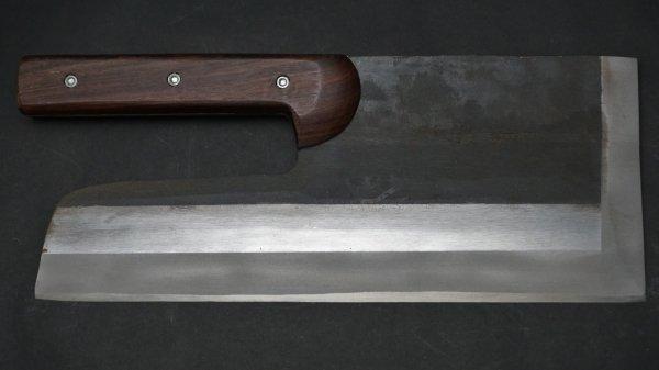 安来鋼 黒打 麺切 紫檀柄 (直柄)<br>White #2 Kurouchi Menkiri Rosewood Handle (Straight)
