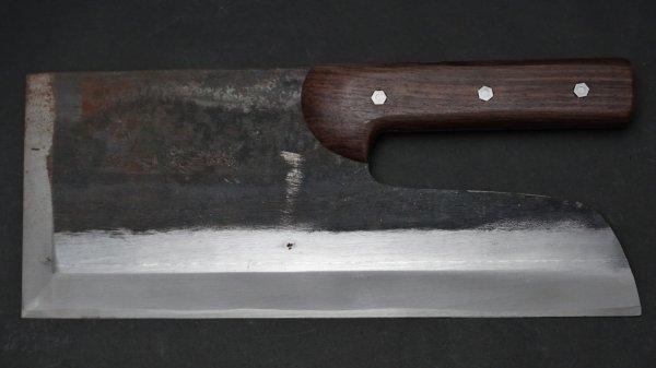 左刃 安来鋼 黒打 麺切 紫檀柄 (直柄)<br>Left Handed White #2 Kurouchi Menkiri Rosewood Handle (Short)