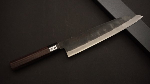 吉田刃物 ZDP-189 黒打 和式柄 牛刀 紫檀柄<br>Yoshida ZDP-189 Kurouchi Wa-handle Gyuto Rosewood Handle
