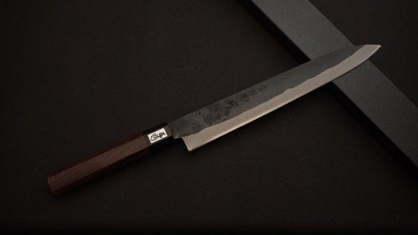 吉田刃物 ZDP-189 黒打 和式柄 筋引 紫檀柄<br>Yoshida ZDP-189 Kurouchi Wa-handle Sujihiki Rosewood Handle