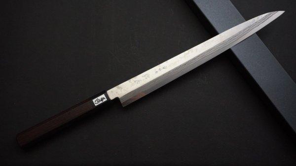 吉田刃物 ZDP-189 11層 和式柄 柳刃 紫檀柄<br>Yoshida ZDP-189 11 Damascus Wa-handle Yanagiba Rosewood Handle