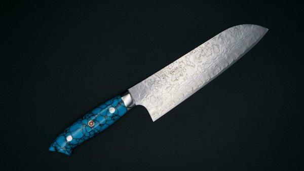 佐治武士作 63層 粉末ハイス鋼 三徳 ターコイズハンドル<br>Saji Powder Steel Santoku Turquoise Handle