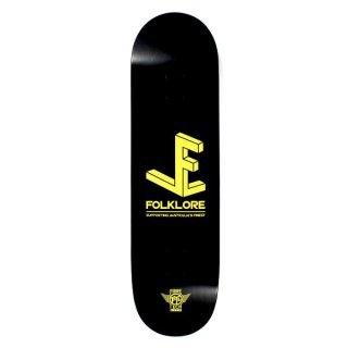 【FOLKLORE】3D ・ 8.00 イエロー - フォークロアのファイバーテックライトスケートデッキ
