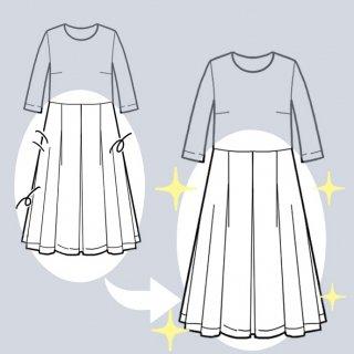 【スカートを新しい生地で付け替え】アーミッシュ風シンプルワンピース◇リメイク