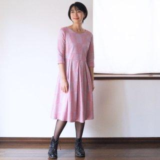 アーミッシュ風シンプルワンピース◇ブロックチェック柄ジャガード(ピンク)
