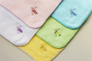 刺繍ハンカチ カラータオル 花イニシャル