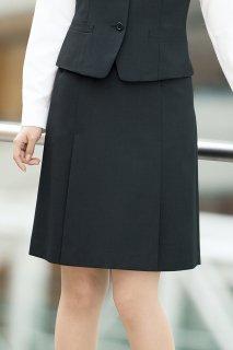 HCS9551【ピエ】ボックスプリーツスカート(ウエストルース)