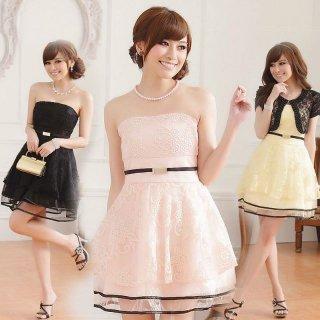 全3色ダブルチュール ベアトップミニ丈 結婚式パーティードレス 謝恩会ドレス 成人式ドレス