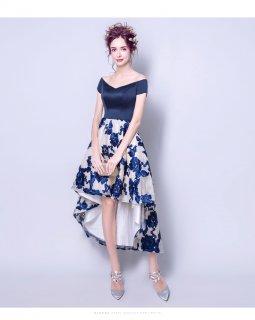 即納分有り 花刺繍スカート切り替えフィッシュテール 謝恩会ドレス 成人式ドレス 二次会ワンピース 袖ありドレス