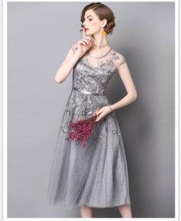 大人エレガント袖ありワンピ 結婚式ドレス 謝恩会ドレス 成人式ドレス 二次会ワンピース