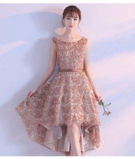 薔薇モチーフ フィッシュテールドレス 結婚式ドレス 謝恩会ドレス 成人式ドレス 二次会ワンピース