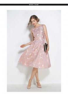 S〜3L ジャガード花刺繍 結婚式ドレス 謝恩会ドレス 成人式ドレス 二次会ワンピース