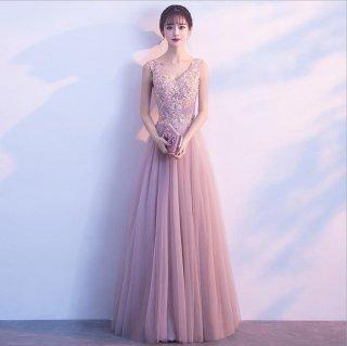 花柄レース切り替えチュールレース ロングドレス 結婚式 成人式 謝恩会ドレス 演奏会ドレス