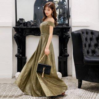 全3色 ラメ入りオフショルダーロングドレス 結婚式 成人式 謝恩会ドレス 演奏会ドレス