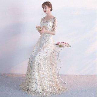 全4色 スパンコール ロングドレス 結婚式 成人式 謝恩会ドレス 演奏会ドレス
