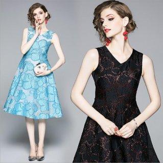 全2色 花柄ジャガード織結婚式ドレス 謝恩会ドレス 成人式ドレス 二次会ワンピース