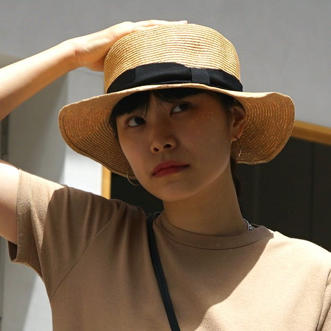 <img class='new_mark_img1' src='https://img.shop-pro.jp/img/new/icons24.gif' style='border:none;display:inline;margin:0px;padding:0px;width:auto;' />[SALE][abu]  アブ Paper  Ribbon Hat(Black)