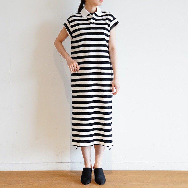 <img class='new_mark_img1' src='https://img.shop-pro.jp/img/new/icons24.gif' style='border:none;display:inline;margin:0px;padding:0px;width:auto;' />[SALE] [Scye] サイ Hrizontal Stripe Polo Long Dress (BLACK) 1220-21212
