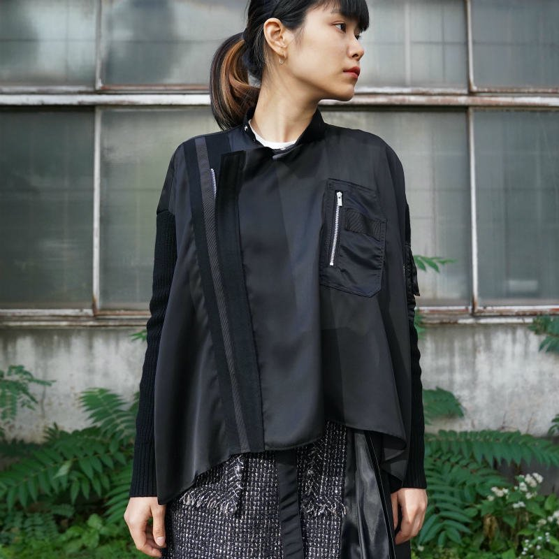 <img class='new_mark_img1' src='https://img.shop-pro.jp/img/new/icons24.gif' style='border:none;display:inline;margin:0px;padding:0px;width:auto;' />[SALE][sacai] サカイ 20-05315 Solid Satin Blouse(BLACK)