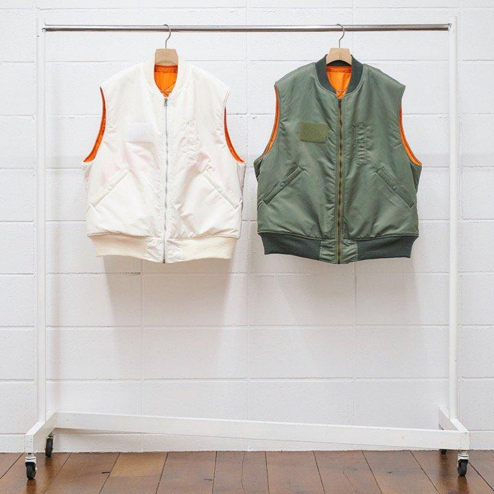 <img class='new_mark_img1' src='https://img.shop-pro.jp/img/new/icons8.gif' style='border:none;display:inline;margin:0px;padding:0px;width:auto;' />[UNUSED] アンユーズド Buzz Rickson's Nylon Vest (WHITE・SAGE GREEN) US1814