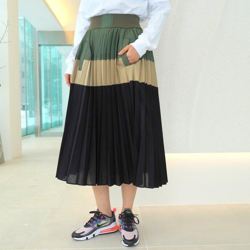 <img class='new_mark_img1' src='https://img.shop-pro.jp/img/new/icons6.gif' style='border:none;display:inline;margin:0px;padding:0px;width:auto;' />[sacai] サカイ 21-05399 Suiting Skirt(BEIGE×NAVY×KHAKI)
