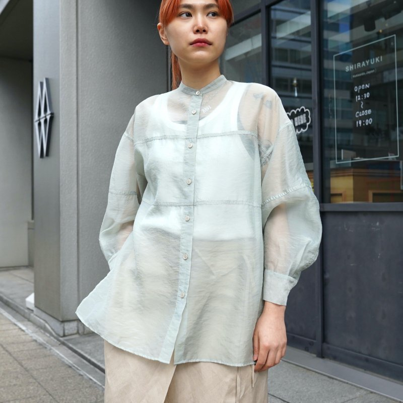 <img class='new_mark_img1' src='https://img.shop-pro.jp/img/new/icons50.gif' style='border:none;display:inline;margin:0px;padding:0px;width:auto;' /> [CLANE] クラネ SWITCH SHEER SHIRTS 10108-3032 (MINT)