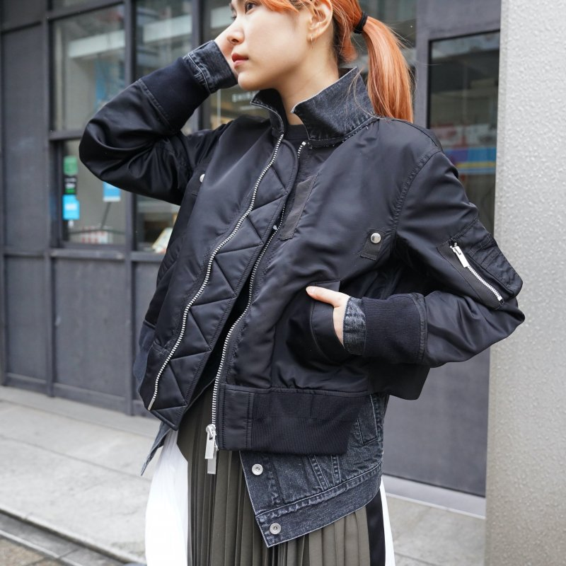<img class='new_mark_img1' src='https://img.shop-pro.jp/img/new/icons6.gif' style='border:none;display:inline;margin:0px;padding:0px;width:auto;' />[sacai] サカイ 21-05602 Denim x Nylon Twill Blouson(BLACK)