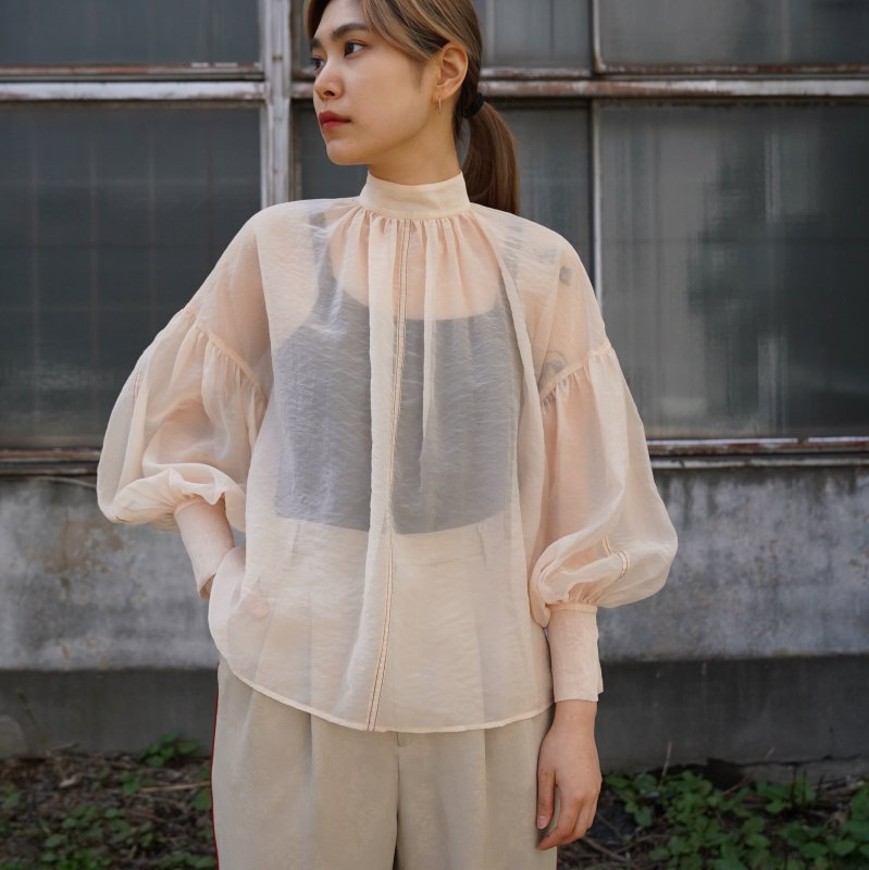 <img class='new_mark_img1' src='https://img.shop-pro.jp/img/new/icons6.gif' style='border:none;display:inline;margin:0px;padding:0px;width:auto;' />[CLANE] クラネ SHEER PUFF TOPS(IVORY)