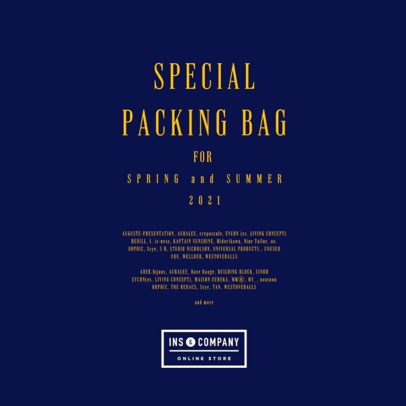 <img class='new_mark_img1' src='https://img.shop-pro.jp/img/new/icons50.gif' style='border:none;display:inline;margin:0px;padding:0px;width:auto;' />[INS ONLINE STORE]  SPECIAL PACKING BAG for 2021SS【MENS】-50,000円-