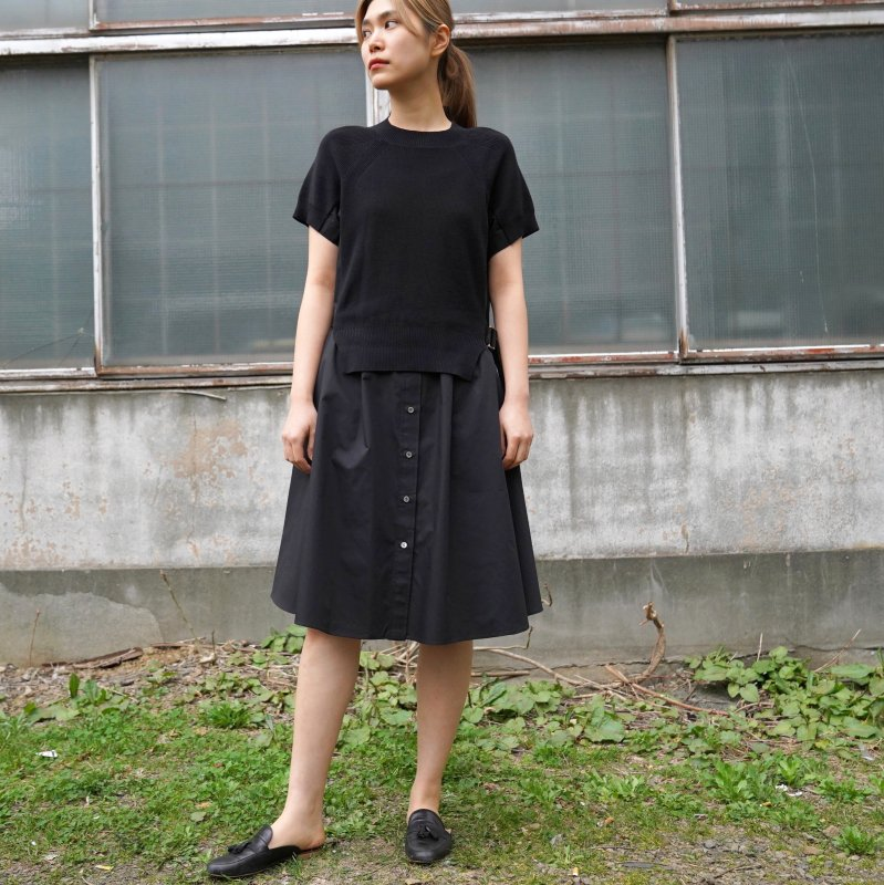 <img class='new_mark_img1' src='https://img.shop-pro.jp/img/new/icons6.gif' style='border:none;display:inline;margin:0px;padding:0px;width:auto;' />[sacai] サカイ SCW-019 Cotton Knit Dress(Black×Black)