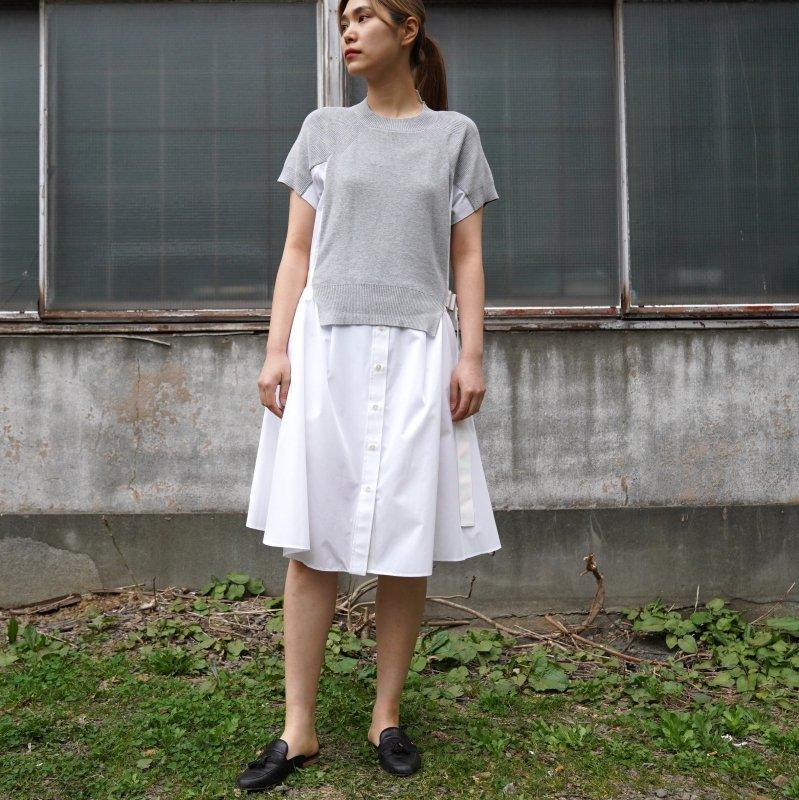 <img class='new_mark_img1' src='https://img.shop-pro.jp/img/new/icons6.gif' style='border:none;display:inline;margin:0px;padding:0px;width:auto;' />[sacai] サカイ SCW-019 Cotton Knit Dress(L/Gray×White)