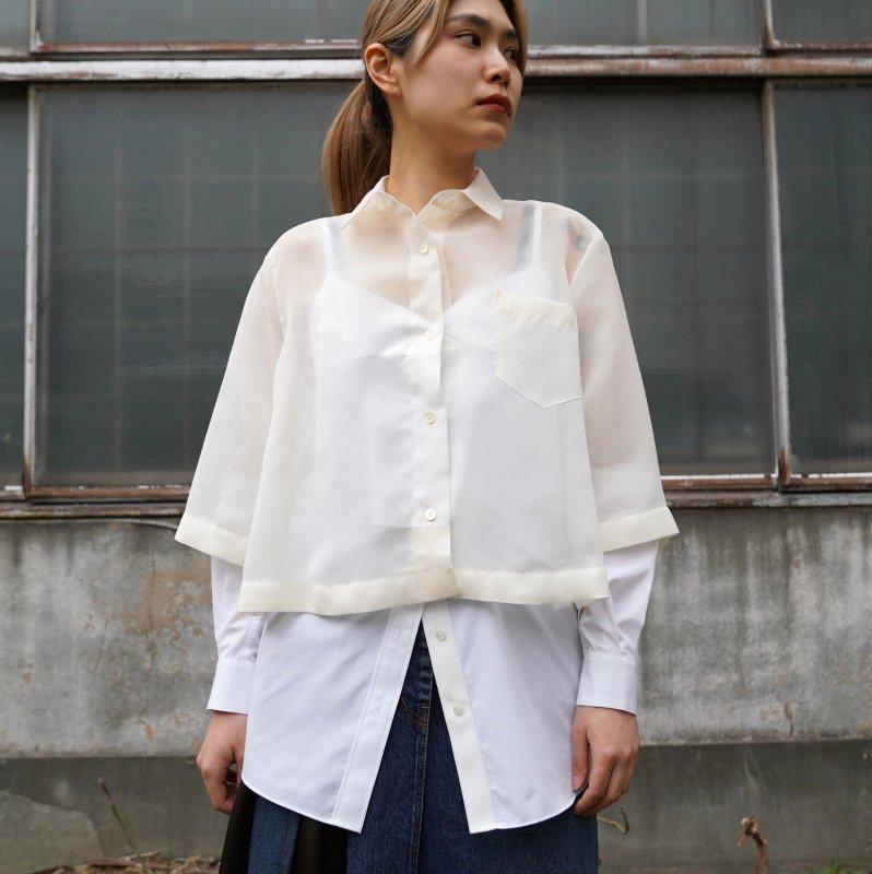 <img class='new_mark_img1' src='https://img.shop-pro.jp/img/new/icons6.gif' style='border:none;display:inline;margin:0px;padding:0px;width:auto;' />[sacai] サカイ 21-05568 Organza x Cotton Poplin Shirt(ECRU×OFFWHITE)