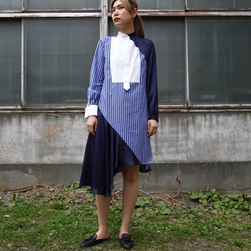 <img class='new_mark_img1' src='https://img.shop-pro.jp/img/new/icons6.gif' style='border:none;display:inline;margin:0px;padding:0px;width:auto;' />[sacai] サカイ 21-05478 Cotton Poplin Dress(STRIPE/NVY)