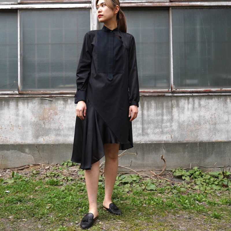 <img class='new_mark_img1' src='https://img.shop-pro.jp/img/new/icons6.gif' style='border:none;display:inline;margin:0px;padding:0px;width:auto;' />[sacai] サカイ 21-05478 Cotton Poplin Dress(BLACK)