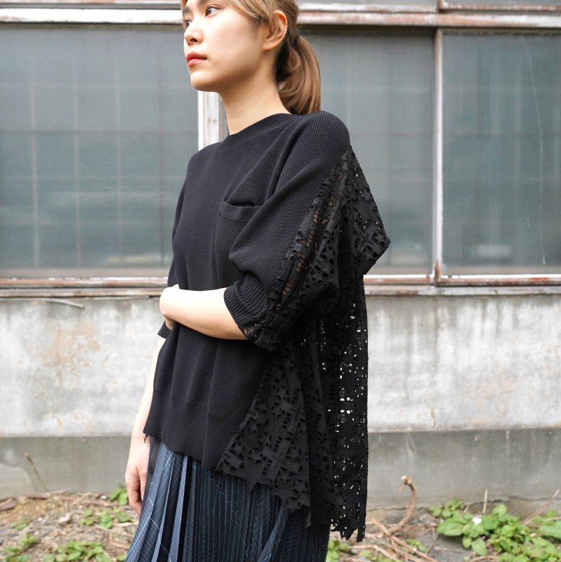 <img class='new_mark_img1' src='https://img.shop-pro.jp/img/new/icons6.gif' style='border:none;display:inline;margin:0px;padding:0px;width:auto;' />[sacai] サカイ 21-05469 Embroidery Lace Knit Pullover(BLACK)