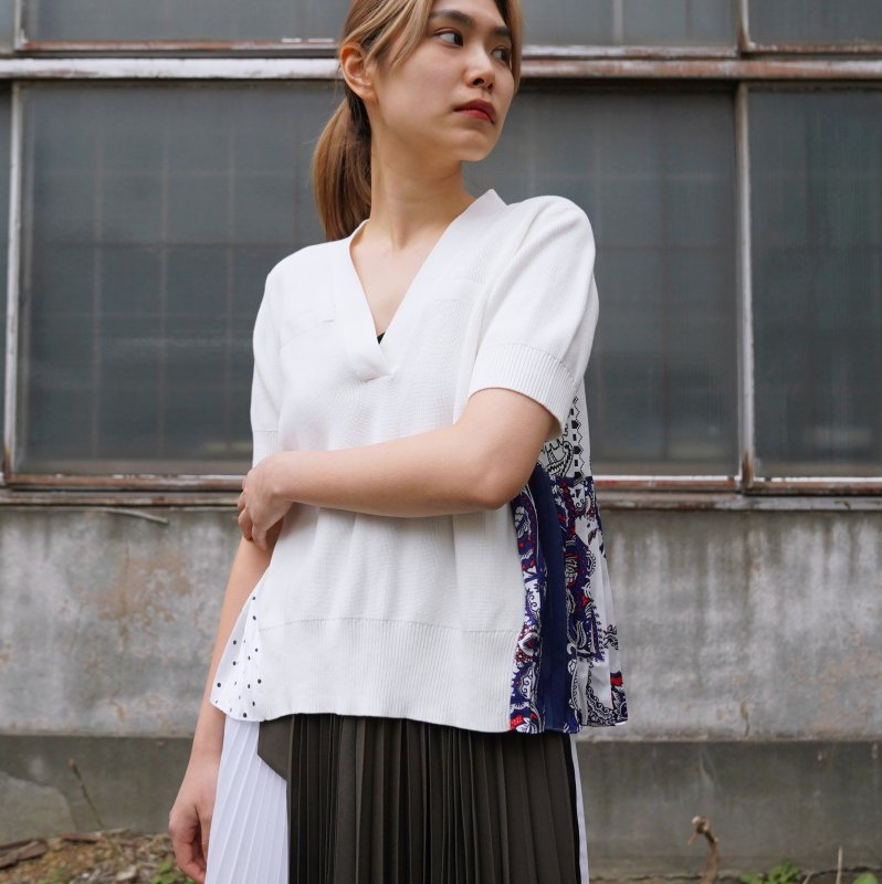 <img class='new_mark_img1' src='https://img.shop-pro.jp/img/new/icons6.gif' style='border:none;display:inline;margin:0px;padding:0px;width:auto;' />[sacai] サカイ 21-05438 Archive Print Mix Knit Pullover(WHITE)