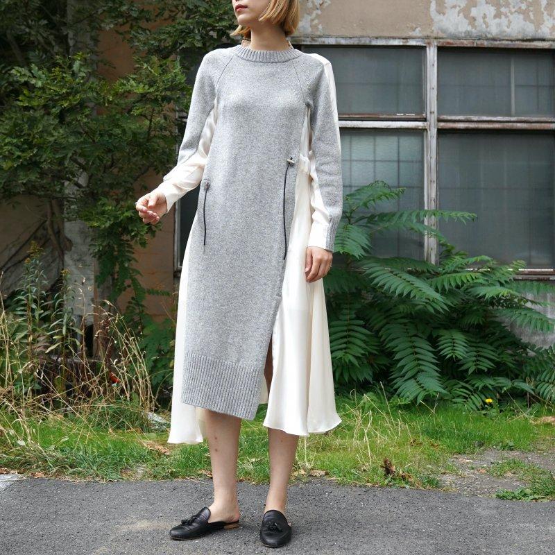 <img class='new_mark_img1' src='https://img.shop-pro.jp/img/new/icons6.gif' style='border:none;display:inline;margin:0px;padding:0px;width:auto;' />[sacai] サカイ 21-05668 Wool Knit Dress(L/GRAY×OFF WHITE)