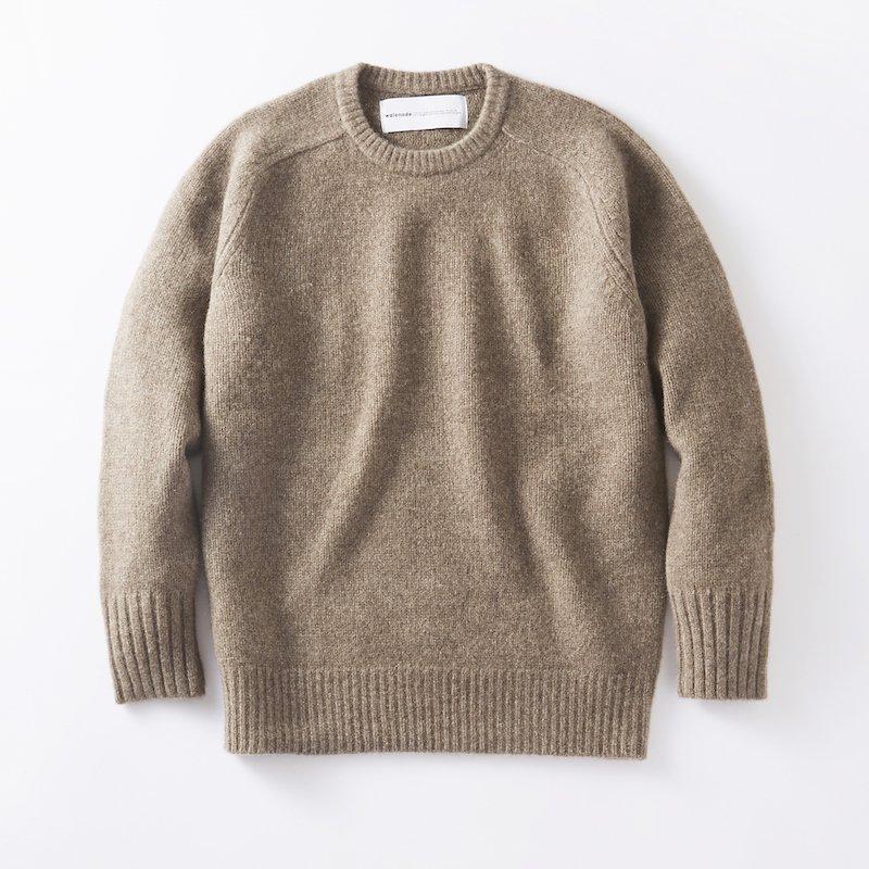 <img class='new_mark_img1' src='https://img.shop-pro.jp/img/new/icons8.gif' style='border:none;display:inline;margin:0px;padding:0px;width:auto;' />[walenode for MaW] ウェルノード Tibetan yak Shetland sweater (MOCHA)