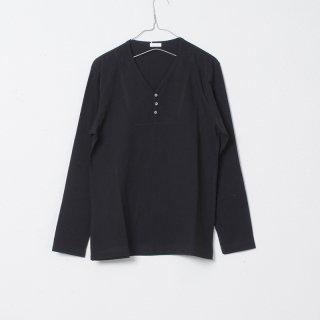 レッドカシミヤOGヘンリーネックTシャツ ブラック