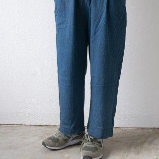 【1点もの】泥染め ワイドパンツ 藍グレー