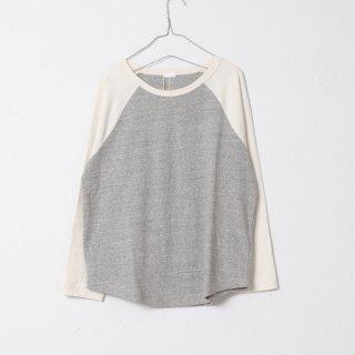 反毛ラグランロングスリーブTシャツ 杢グレー×キナリ