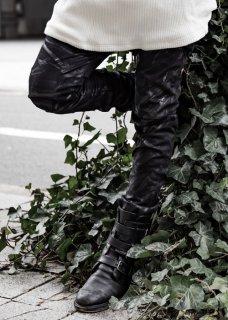 Black Coated Stretch Cut Slim Biker Pants