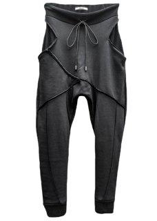 Japanesepaper Drop Crotch Slim Pants - Black